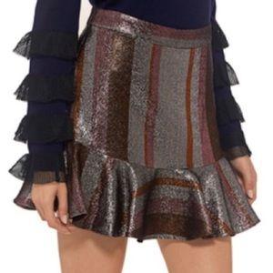 10 Crosby Derek Lam Lurex Flounce Mini Skirt